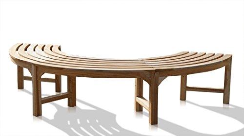 KMH® 180° Baumbank ohne Rückenlehne Teakholz