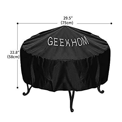 Fire Pit Cover Geekhom Round Fire Pit Cover Made Of Durable Waterproof Weather Resistant 210d Oxford Fabrics For Patio Outdoor 30-inch Diameter Black- 3 Year Warranty from GEEKHOM
