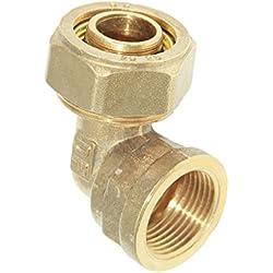 MagiDeal Tubo de Acoplamiento Rápido de Aluminio de Compresión Compuesta Codo Femenino de 3 Tamaños de Color Amarillo - L25 3/4 ''