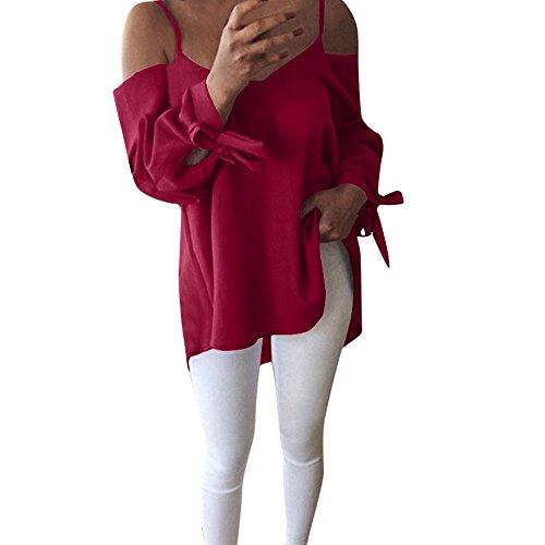 OSYARD Damen Sexy Schulterfreies Langarm T-Shirt, Women Casual -