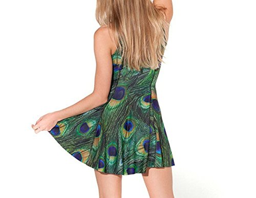 JTC Femme Robe Court Sans Manche en Fibre Polyester Seul une Taille Fille vert plume