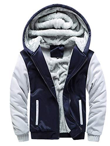 MRULIC Herren Hoodie Pullover Winter Warme Fleece Jacke Zipper Sweater Jacke Outwear Mantel RH-054 (EU-44/CN-L, Y2-Dunkelblau) - Langarm-wrap Cardigan