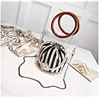 LridSu Bolso Clutch Bolso Transparente Bolso de Rayas Transparente con pequeño cosmético Handbang Bolso de Caramelo de PVC Jelly Beach con la manija (Negro)