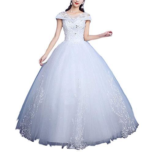 Elegant Dress Frauen Hochzeit Hals Tüll Schulter Spitze Applique Runde Schönes Kleid für die Braut, Weiß, XXXL