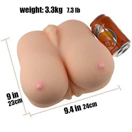 SHEQU® Pussy Mund Masturbator und 3D Brüste Realistische Silikon 3 in 1 Vagina Anal Puppe für männliche Masturbation (24cm*23cm*14cm) - 5
