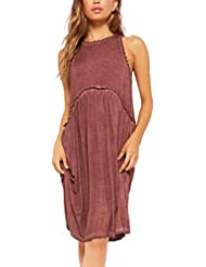 Vestido Flojo Sin Mangas del Vestido del CordóN del Color SóLido Ocasional De Las SeñOras Vestido Plisado