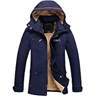 EnergyMen Zip-up Suede Thickening Hooded Pocket Bomber Jacket Coat Blue S
