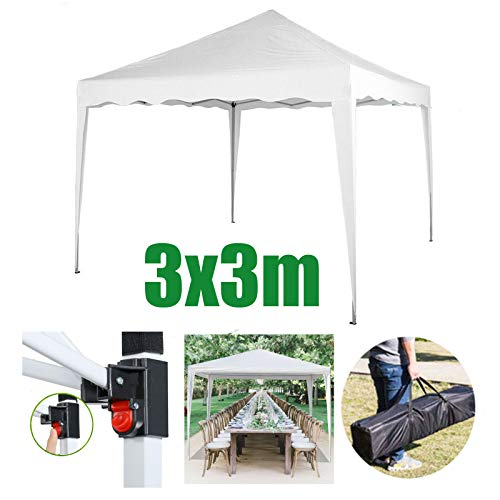 Huini 3x3m Pop-up Pavillon Zelt Markise für Party im Freien Hochzeit Garten Event Shelter Camping BBQ Picknick Sonnenschutz Pavillon w/Tragetasche (ohne Seitenwände) - Weiß