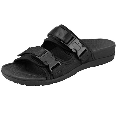 Everhealth Orthopädische Pantoletten Damen Sandalen mit Weichem fußbett Stylische Hausschuhe, Schwarz, 40 EU (Schwarz Fußbett, Weiches)