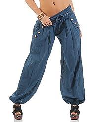 ZARMEXX Haremshose Pumphose mit Gürtel Pluderhose Uni-Farben Ballonhose Aladinhose Harem Hose Sommerhose Yoga One-Size