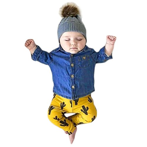 happy event Kleinkind Baby Jungen Mädchen Denim Baumwolle Kostüm Outfits Kleidung Sets | Toddler Infant Baby Boy Girls Kaktus Print Denim Outfits Clothes Sets ()