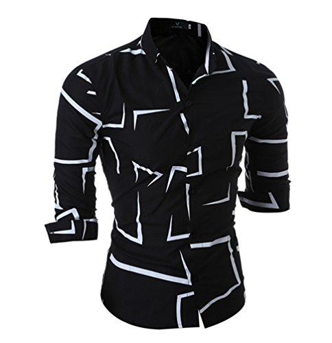 Wanyang uomo tatuaggio stampa camicie moda casuale men shirts slim fit fashion shirts nero