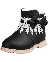 Kids automne hiver enfants chauds Martin bowknot filles chaussures anti-dérapant bottes rouge