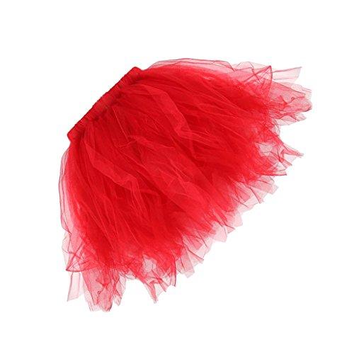 MagiDeal Tutu Frauen und Mädchen Ballettröckchen Röcke Prinzessin Ballett Performing Dress Dancewear Unterröcke - Rot, (Für Rote Erwachsene Tutus)