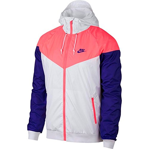 Coupe-vent Nike Sportswear Windrunner Blanc/Corail/Bleu Taille : M (Medium)