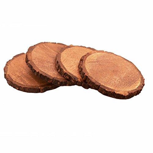 Purpledip Dessous de Verre en bois naturel (lot de 4) en manguier ?corce?: Table de salle ? manger rustique coupelles ? bords Cadeau?; 12,7?cm chaque (11141)