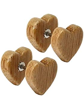 tumundo 4er Set / 1 Paar Holz Fakeplugs Herz Form Fake Plugs Tunnel Holzohrstecker Ohrstecker Ohrring Ohr