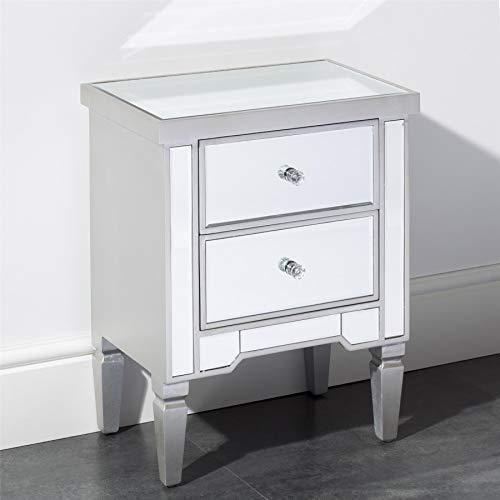 Gr8 Home Holz Grau Verspiegelt Kristall Glas Nachttisch 2 Schubladen Beistelltisch Schlafzimmer Möbel