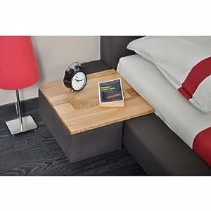 Table de chevet en bois et en tissu prune SEATTLE