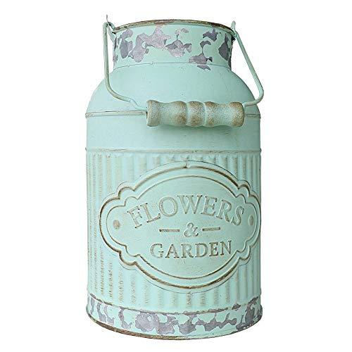 Yoillione Blumenvase, Vintage-Stil, Metallvase, französischer Krug für Blumen, Grün Shabby Chic Vase mit Blumen für Bauernhof-Dekoration, 4 Stil Style 2