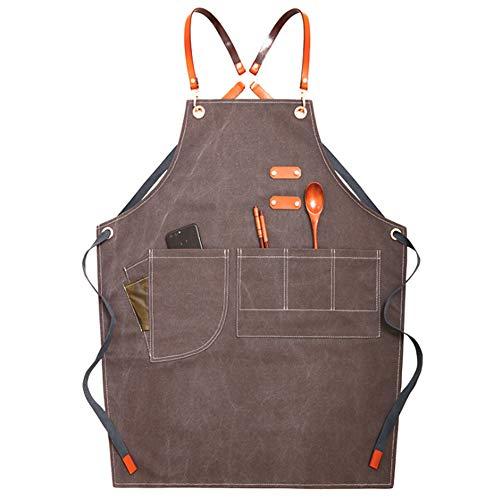 Werkzeugschürze, Holzbearbeitungsschürze Hochleistungssegeltuch mit Taschen und Gürtelschürze Einstellbar Unisex für Werkstattküche Garten Keramik Floral,Gray -