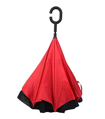 Ombrello inverso pieghevole - Ombrello con apertura al contrario - Ombrello reversibile - Ombrello invertito - Ombrello apertura inversa