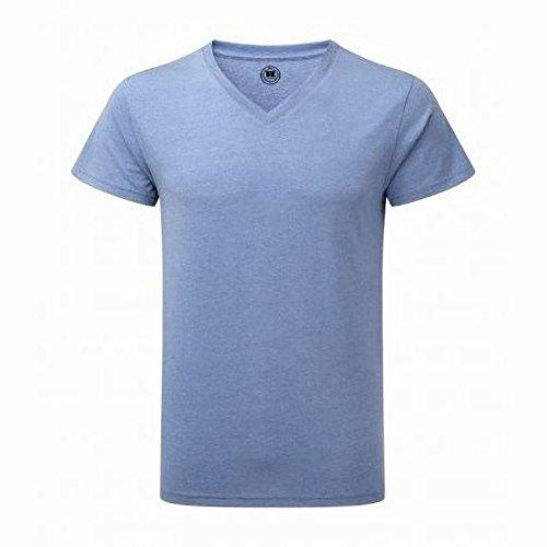 Russell Herren HD T-Shirt mit V-Ausschnitt, kurzärmlig Blau Meliert