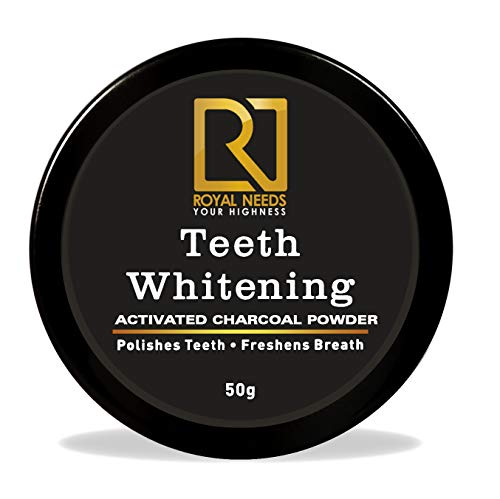 Royal Needs Coconut Shell Activated Charcoal Instant Teeth Whitening Powder, 50g