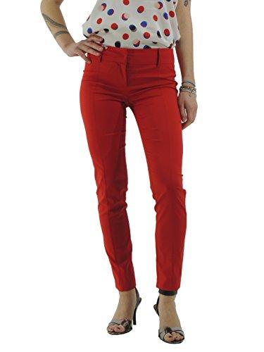 Patrizia Pepe pantaloni donna in gabardina di cotone tinta unita BP0368  A2NJ Rosso 80e0687290f