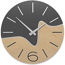 CalleaDesign - Orologi da parete in legno Oliver, Colore: Antracite