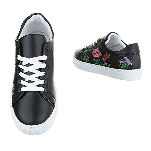 Damen Schuhe Freizeitschuhe Sneakers Turnschuhe Sportschuhe Schwarz Schwarz