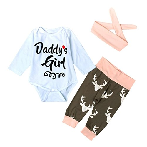 Babybekleidung,Resplend Neugeborenes Säuglingsbaby Mode Briefe Strampler + Kitz Drucken Hosen Bowknot Haarband 3 Stück Anzug Babyanzug Bekleidungssets (Weiß, 6M)