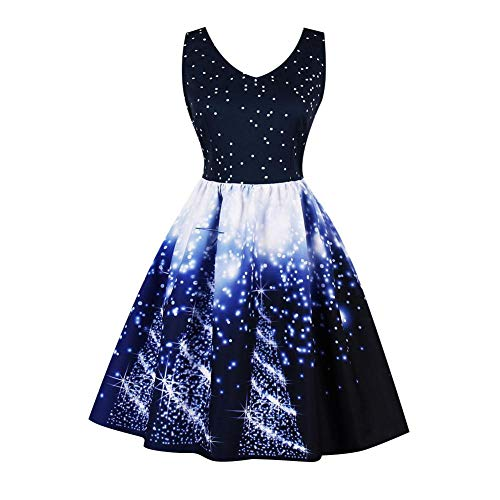 GLOGLOW Vintage Kleid, Elegante Sternenhimmel Druck Frauen V-Ausschnitt ärmellose Empire-Taille Plissee Kleid(2XL-Dunkelblauer Druck)