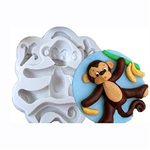 SEVENHOPE 3D Affe Silikon Fondant Schokoladenform Kuchen Dekor Zuckerguss Sugarcraft Schimmel (grau) (Schokoladenform Affe)