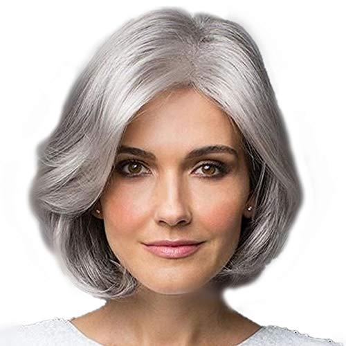 Damen silbernes graues kurzes lockiges synthetisches volles Haar Perücke natürliches gewelltes flauschiges Cosplay Oma Kostüm Perücken mittleres kurzes lockiges Haar für 9.8 Zoll