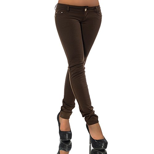 G701 Damen Jeans Look Hose Röhre Leggings Leggins Treggings Skinny Jeggings, Farben:Braun;Größen:40 (L)