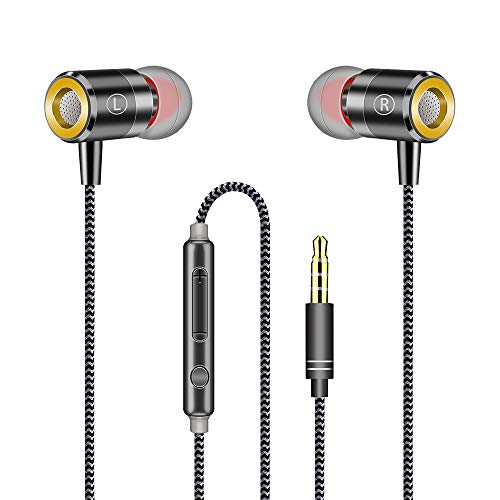 Pomisty In Ear Kopfhörer,Audio Kopfhörer mit Mikrofon,In Ear Ohrhörer HiFi Starker Bass Noise Cancelling Stereo,Kabelgebundenes Headset 3.5mm Klinkenbuchse für Smartphone und MP3 Players usw -