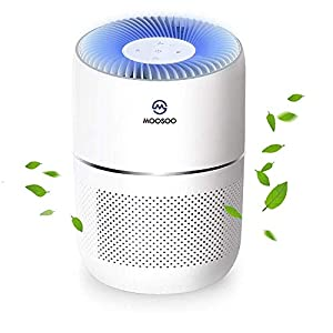 MooSoo Air Purifier with True HEPA Filter 4 Stage Filtration System Smart Monitoring Sensor Air Cleaner Intelligent Visualization & Active Carbon Filters for Allergies,Pet Dander,Smoke,Dust Mites,Home