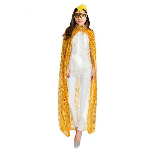 Halloween Umhang Party Bühne Kleid Farbe Pailletten COS Dress up Requisiten (Farbe : Gelb)