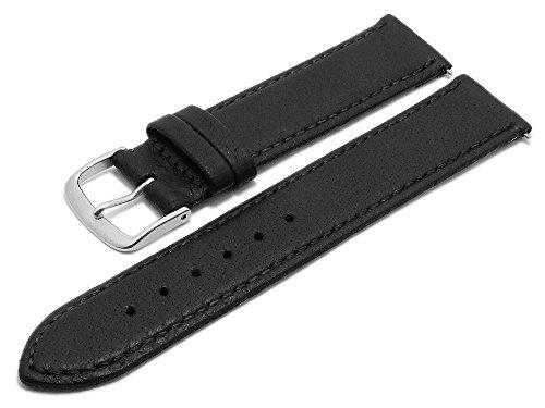 Schwarz Hirschleder (Meyhofer Uhrenarmband Neuss EASY-CLICK 20mm schwarz Hirsch-Leder genarbt abgenäht Made in Germany My2fcml2022)