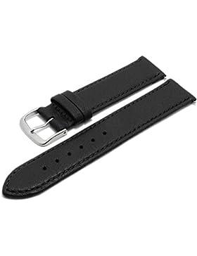 Meyhofer Uhrenarmband Neuss EASY-CLICK 18mm schwarz Hirsch-Leder genarbt abgenäht Made in Germany My2fcml2022