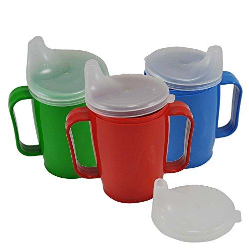 Schnabelbecher, tasse Trinktasse mit Griff + 2 Deckel 4+12 mm, 250ml, Farbwahl 5