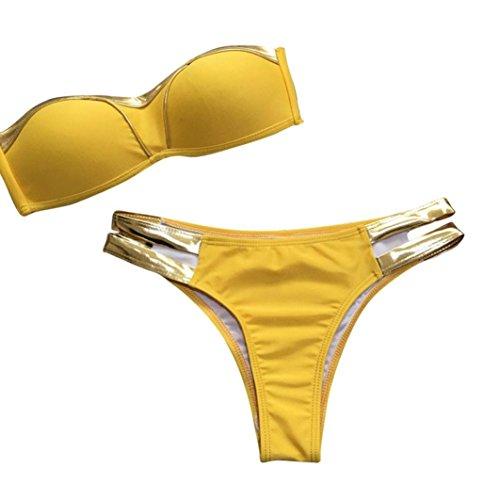 Sansee Damen Gold Stamping Bikini Set Sexy Gepolstert Frauen Badeanzug Push Up Bademode Sommer Strandkleidung Brasilien Badeanzug (Gelb, S) (Brasilien Badeanzug)