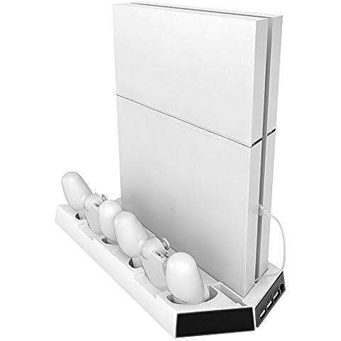 MP power @ Blanco Soporte vertical estación de carga con ventilador enfriador para Sony Playstation 4 PS4 console