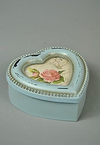 Trinket Jewellery box Heart Shaped Turqoise Blue Distressed Glass Photo Insert Detail