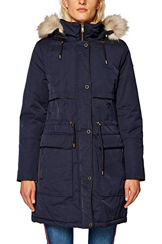 edc by ESPRIT Damen Parka 098CC1G022, Blau (Navy 400), Small