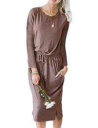 Vestido Túnica para Mujer Primavera Otoño Casual Lazo Sólido ... 0c8de59bdcd3