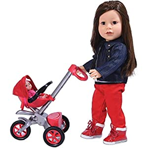 The New York Doll Collection E141 Bye Baby Buggy-Juego de Accesorios para muñecas de 18 Pulgadas, Color Rojo, (687077263806)