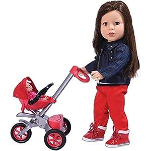 The New York Doll Collection- E141 Bye Baby Buggy-Juego de Accesorios para muñecas de 18 Pulgadas, Color Rojo (687077263806)