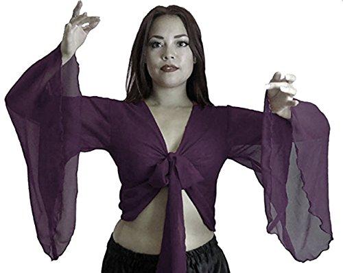 Arten Bauchtanz Kostüm Verschiedene - Dancers World Ltd (UK Seller) Bauchtanz-Kostüm Choli, geflügelter Arm, Tribal-Stil, Größe 38-52 bis XXXL Gr. 8/10-12, Pflaume